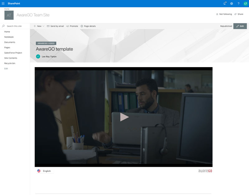 SharePoint video added